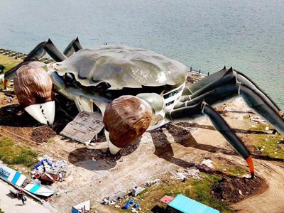 苏州阳澄湖边上的超级大螃蟹!